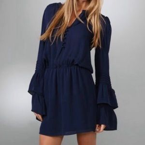 Parker Ruffled Navy Blue Bell Sleeve Dress